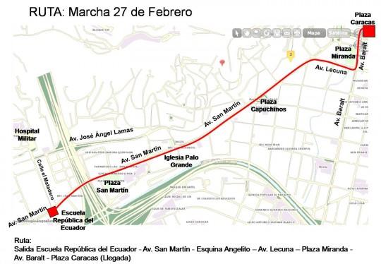 Ruta marcha 27 de febrero-Fidel Ernesto Vasquez