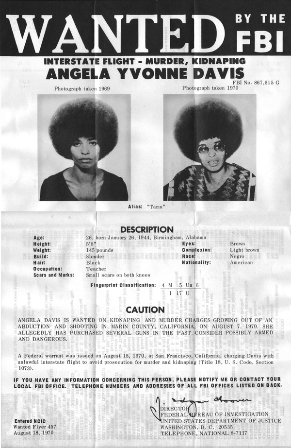 Angela Davis-wanted-Fidel Ernesto Vasquez