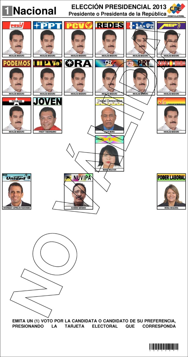 boleta de votacion-Fidel Ernesto Vasquez
