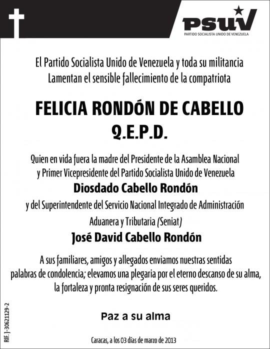 Obituario de Felicia de Cabello-Fidel Ernesto Vasquez