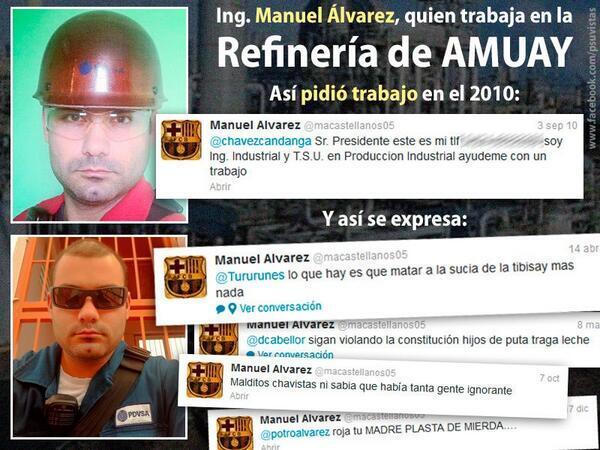 La cara del fascismo Pide matar a Presidenta del CNE y conspira… desde PDVSA-Fidel Ernesto Vasquez