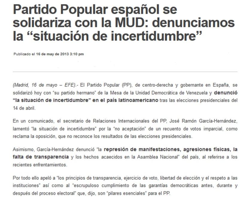 Partido Popular Español se solidariza con la MUD-Fidel Ernesto Vasquez
