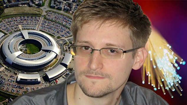 Edward Snowden composite with GCHQ and fibre optics