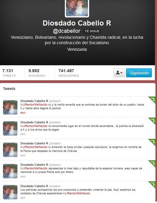 Twitter de Diosdado Cabello-Fidel Ernesto Vasquez