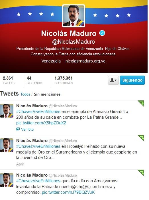Twitter @NicolasMaduro-Fidel Ernesto Vasquez