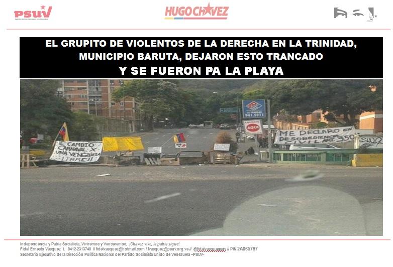 EL GRUPITO DE VIOLENTOS DE LA DERECHA EN LA TRINIDAD, MUNICIPIO BARUTA, DEJARON ESTO TRANCADO-Fidel Ernesto Vasquez