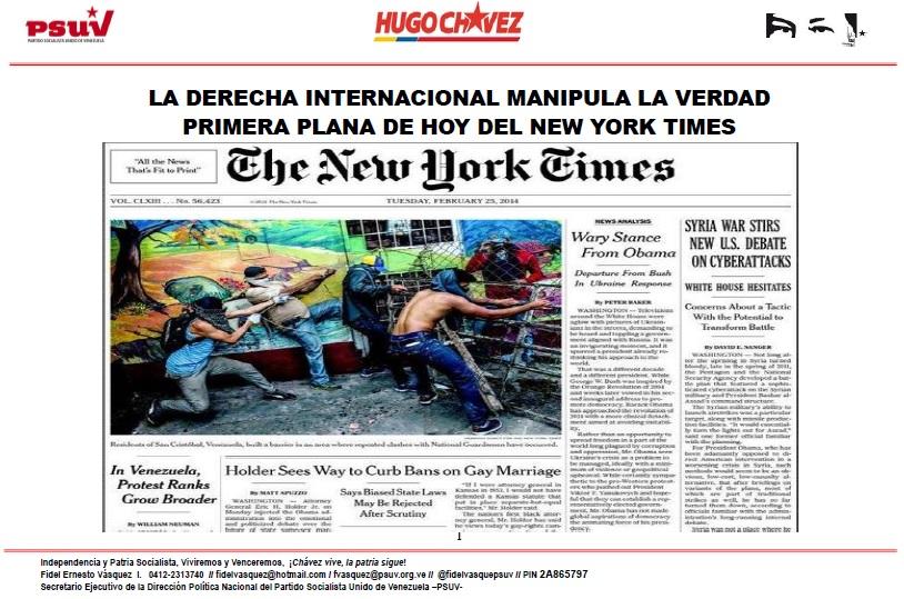 Primera plana de hoy del New York Times- San Cristóbal-Fidel Ernesto Vasquez