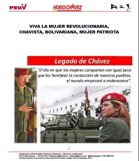 VIVA LA MUJER REVOLUCIONARIA, CHAVISTA, BOLIVARIANA, MUJER PATRIOTA-Fidel Ernesto Vasquez