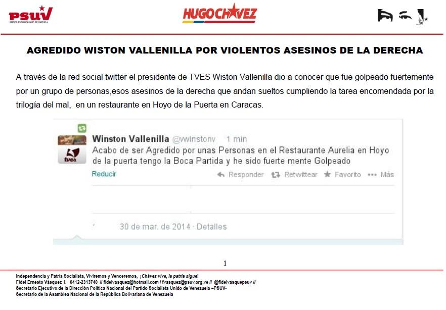 AGREDIDO WISTON VALLENILLA POR VIOLENTOS ASESINOS DE LA DERECHA