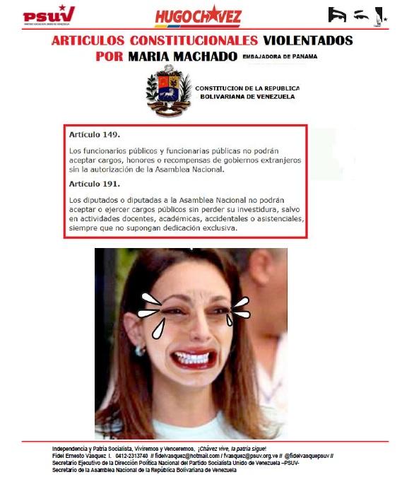 ARTICULOS CONSTITUCIONALES VIOLADOS POR LA SRA MARIA MACHADO Y SU REACCION