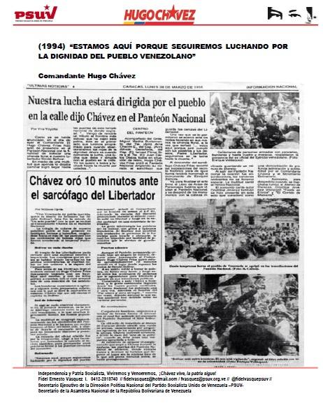 COMANDANTE CHAVEZ.- ESTAMOS AQUÍ PORQUE SEGUIREMOS LUCHANDO POR LA DIGNIDAD DEL PUEBLO VENEZOLANO