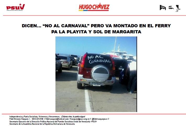 DICEN… NO AL CARNAVAL PERO VA MONTADO EN EL FERRY PA MARGARITA