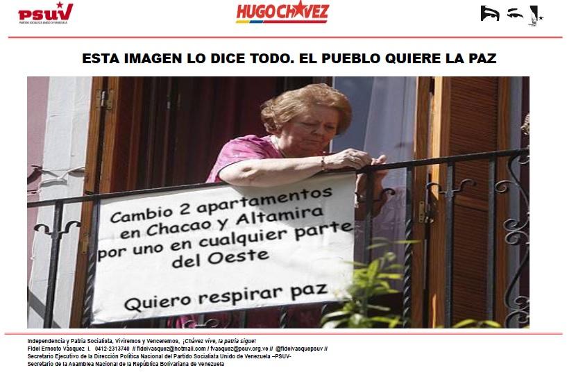 ESTA IMAGEN LO DICE TODO. EL PUEBLO QUIERE LA PAZ-Fidel Ernesto Vasquez