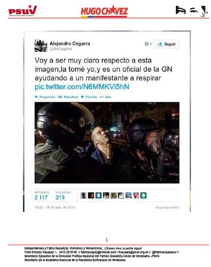 GNB AYUDANDO A UN MANIFESTANTE A RESPIRAR