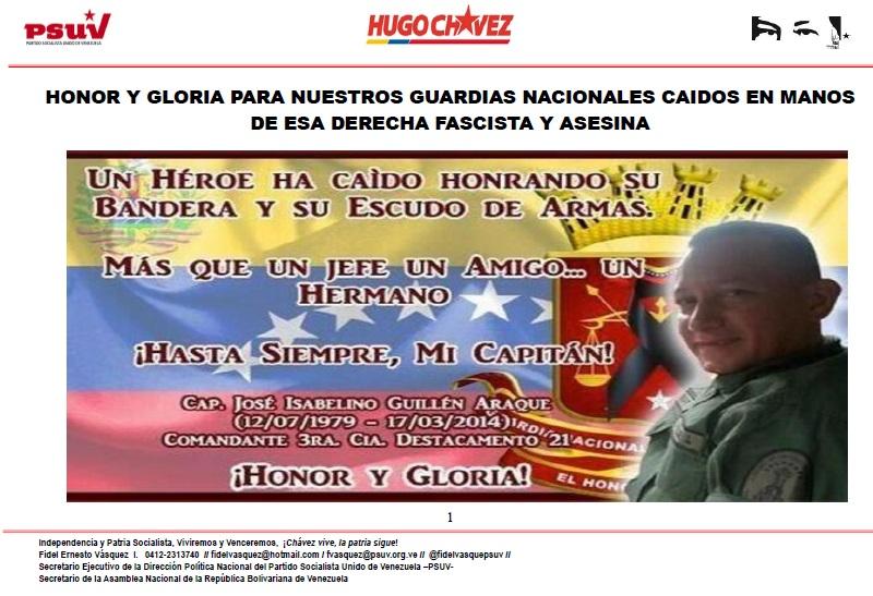 HONOR Y GLORIA PARA NUESTROS GUARDIAS NACIONALES CAIDOS EN MANOS DE ESA DERECHA FASCISTA Y ASESINA