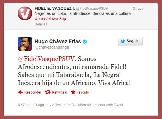 Hugo Chavez-Afrodescendientes-Fidel Ernesto Vasquez