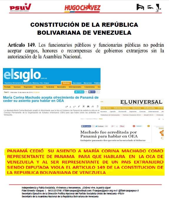 MARIA  MACHADO VIOLA EL ARTICULO 149 DE LA CONSTITUCION NACIONAL