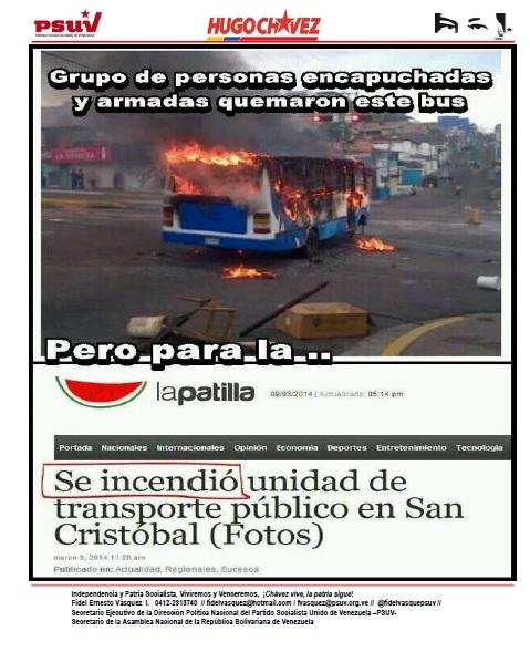 TERRORISTAS DE LA DERECHA QUEMAN AUTOBUS, LA PATILLA DICE QUE SE INCENDIO