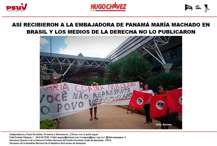 ASÍ RECIBIERON A LA EMBAJADORA DE PANAMÁ MARÍA MACHADO EN BRASIL Y LOS MEDIOS DE LA DERECHA NO LO PUBLICARON