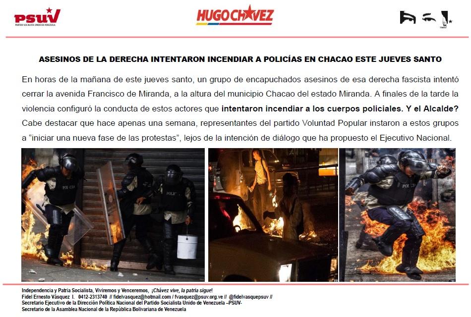 ASESINOS DE LA DERECHA INTENTARON INCENDIAR A POLICÍAS EN CHACAO ESTE JUEVES SANTO