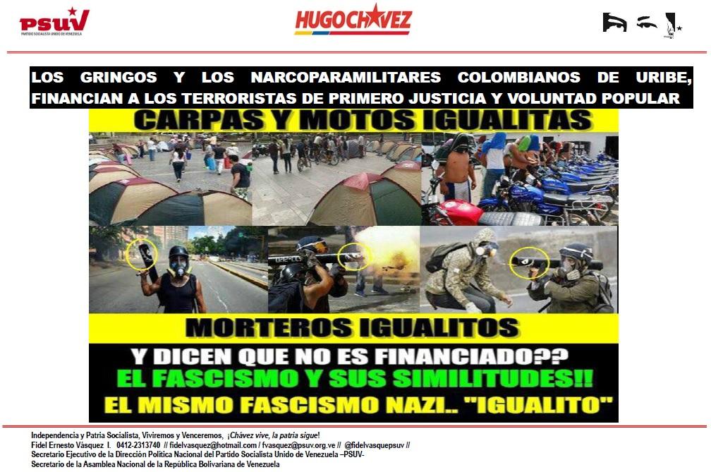 LOS GRINGOS Y LOS NARCOPARAMILITARES COLOMBIANOS DE URIBE, FINANCIAN A LOS TERRORISTAS DE PRIMERO JUSTICIA Y VOLUNTAD POPULAR