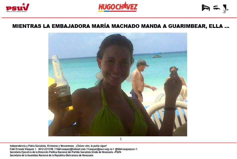 MIENTRAS LA EMBAJADORA MARÍA MACHADO MANDA A GUARIMBEAR, ELLA …