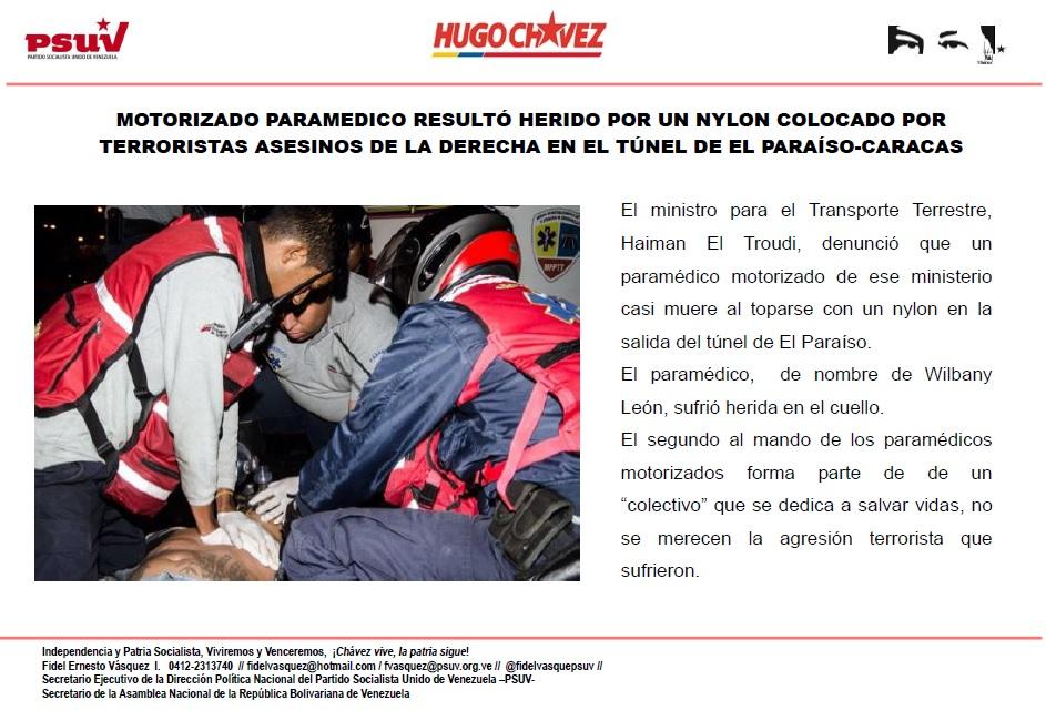 MOTORIZADO PARAMEDICO RESULTÓ HERIDO POR UN NYLON COLOCADO POR TERRORISTAS ASESINOS DE LA DERECHA EN EL TÚNEL DE EL PARAÍSO-CARACAS
