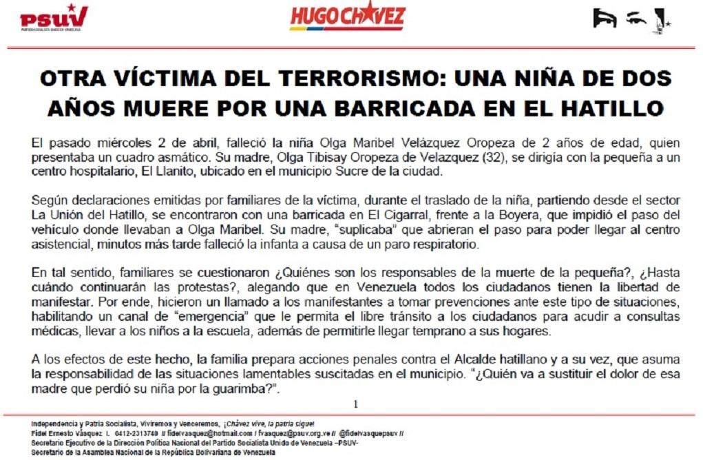OTRA VÍCTIMA DEL TERRORISMO.- UNA NIÑA DE DOS AÑOS MUERE POR UNA BARRICADA EN EL HATILLO
