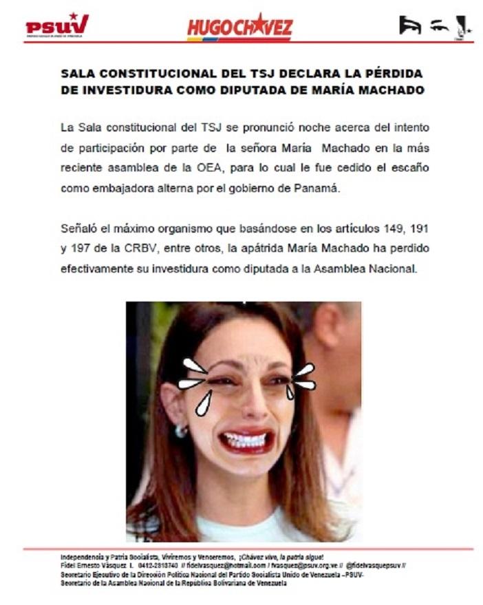 SALA CONSTITUCIONAL DEL TSJ DECLARA LA PÉRDIDA DE INVESTIDURA COMO DIPUTADA DE MARÍA MACHADO