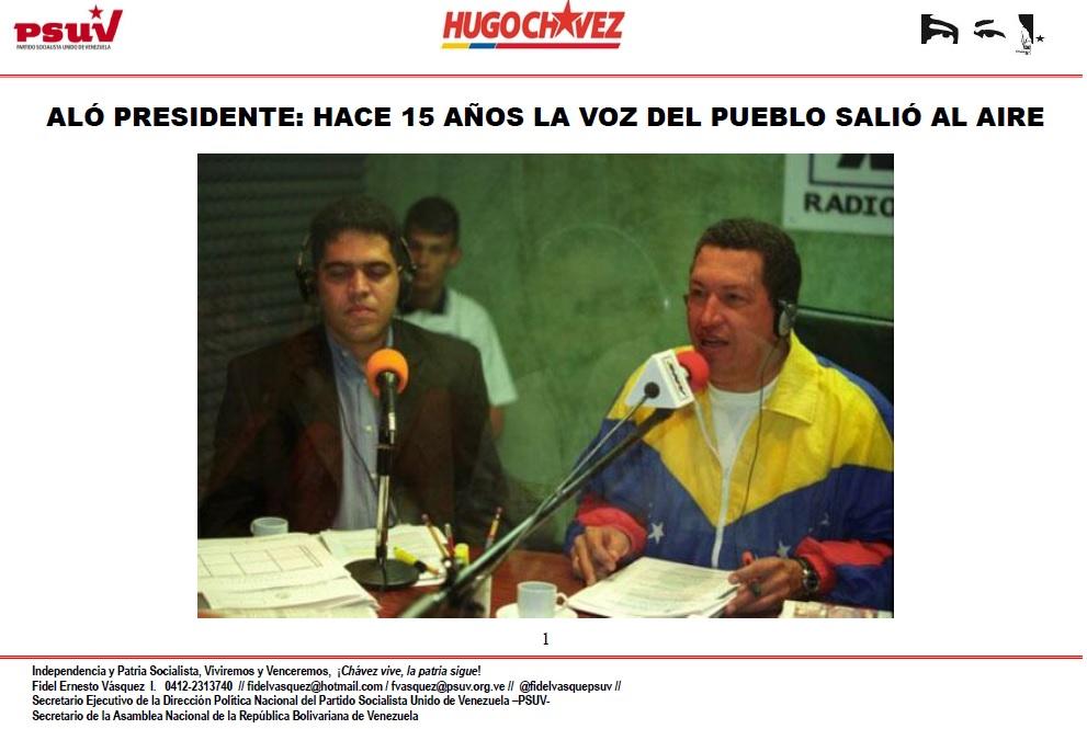 ALÓ PRESIDENT.- HACE 15 AÑOS LA VOZ DEL PUEBLO SALIÓ AL AIRE