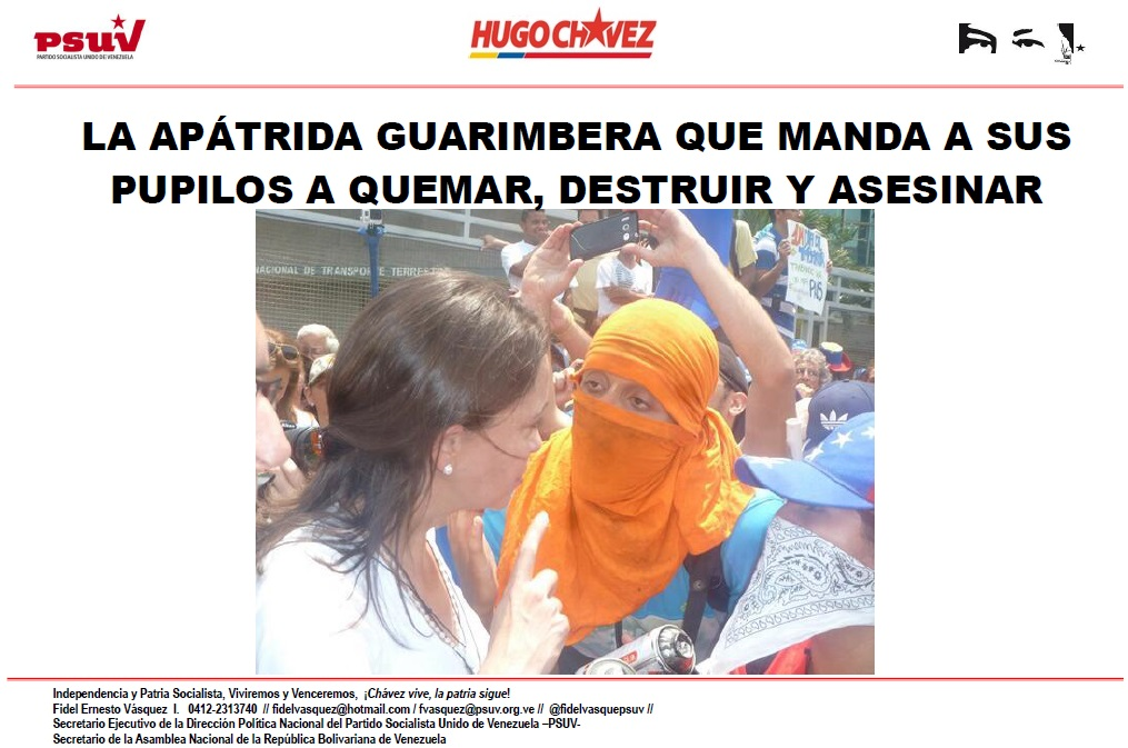 LA APÁTRIDA GUARIMBERA QUE MANDA A SUS PUPILOS A QUEMAR, DESTRUIR Y ASESINAR