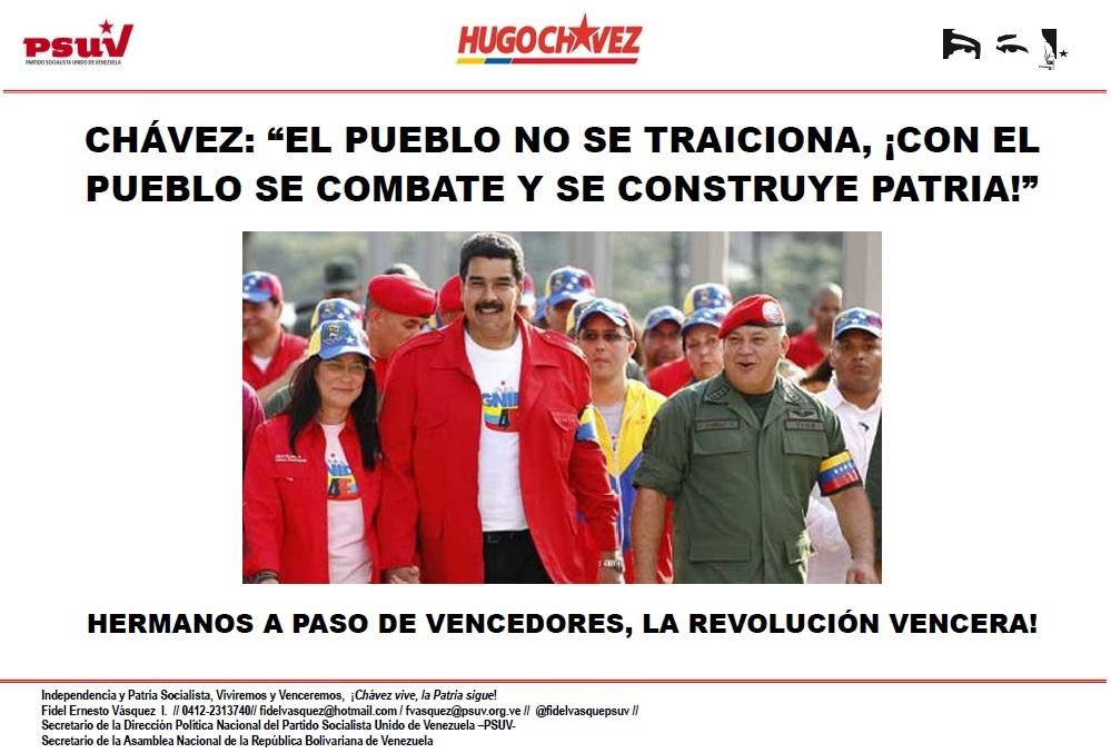 """CHÁVEZ.- """"EL PUEBLO NO SE TRAICIONA, ¡CON EL PUEBLO SE COMBATE Y SE CONSTRUYE PATRIA!"""""""