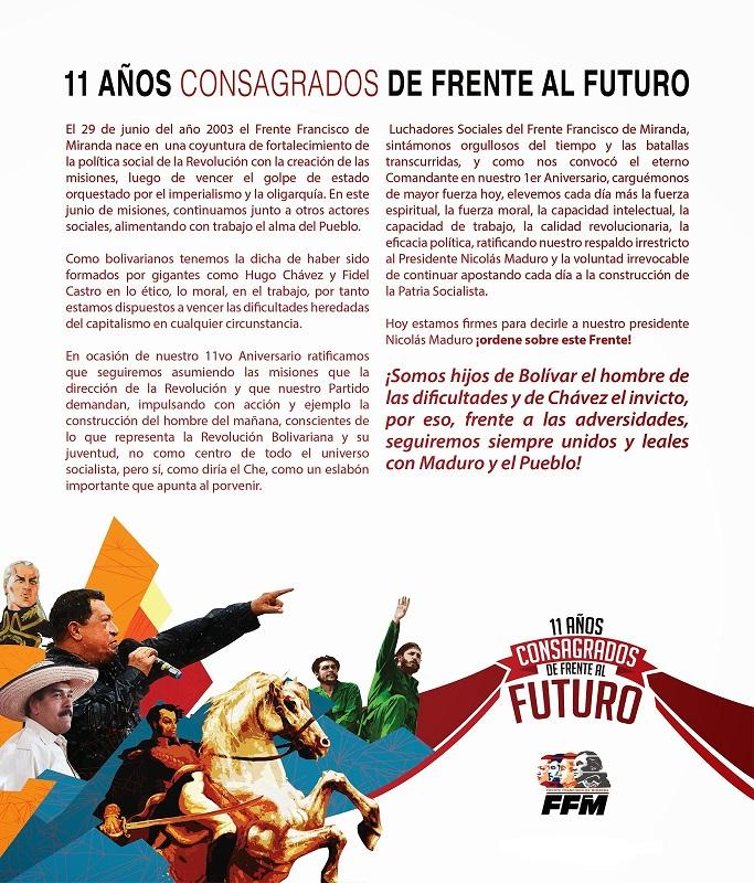 Comunicado Frente Francisco de Miranda