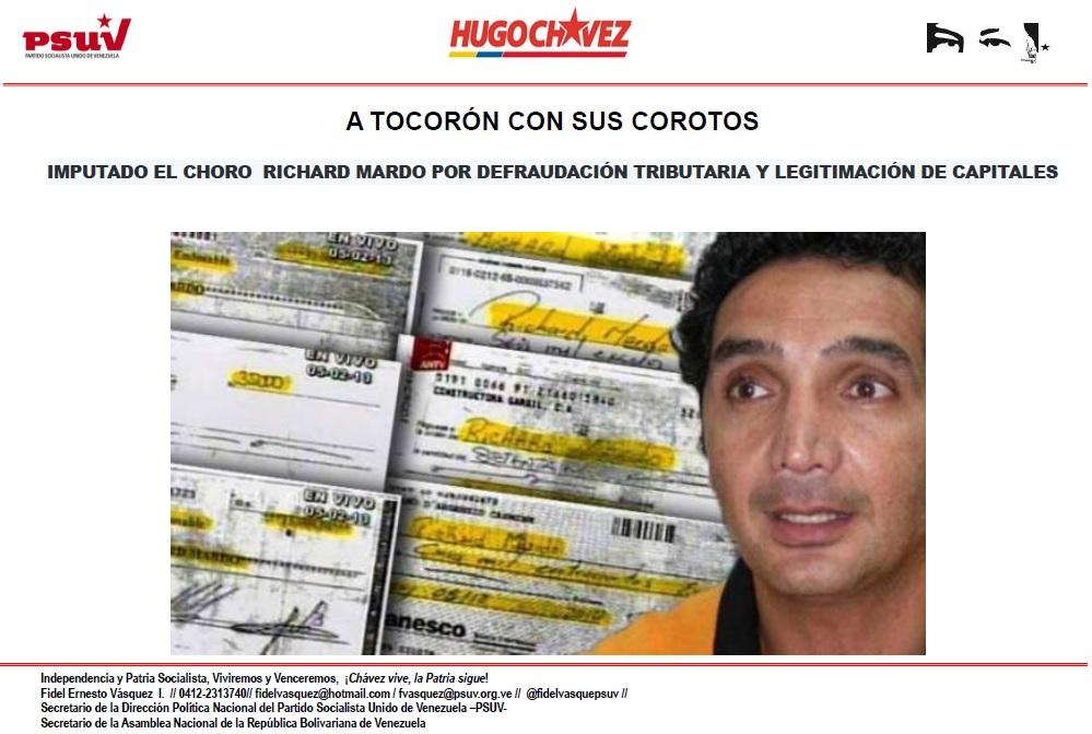 IMPUTADO EL CHORO  RICHARD MARDO POR DEFRAUDACIÓN TRIBUTARIA Y LEGITIMACIÓN DE CAPITALES