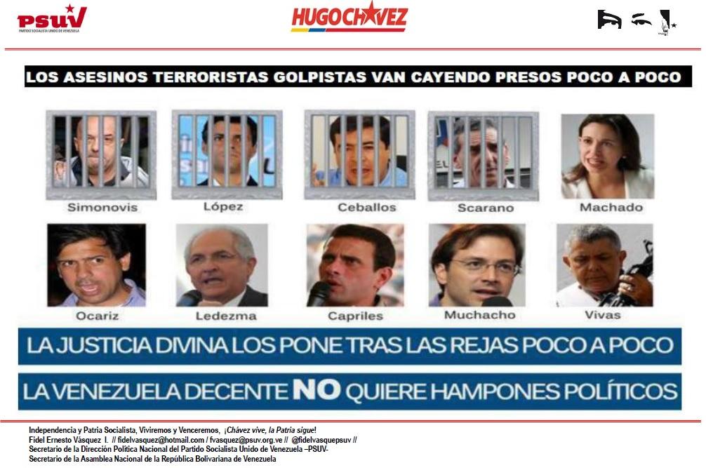 LOS ASESINOS TERRORISTAS GOLPISTAS VAN CAYENDO PRESOS POCO A POCO...