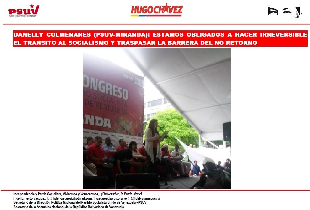 DANELLY COLMENARES -PSUV-MIRANDA.-  ESTAMOS OBLIGADOS A HACER IRREVERSIBLE EL TRANSITO AL SOCIALISMO Y TRASPASAR LA BARRERA DEL NO RETORNO