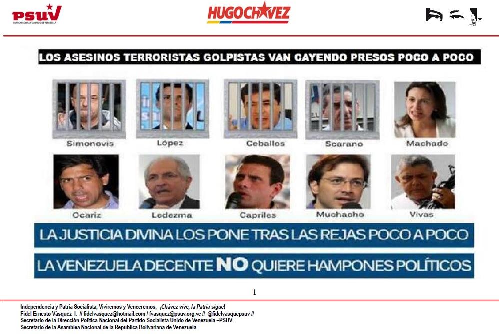 LOS ASESINOS TERRORISTAS GOLPISTAS VAN CAYENDO PRESOS POCO A POCO