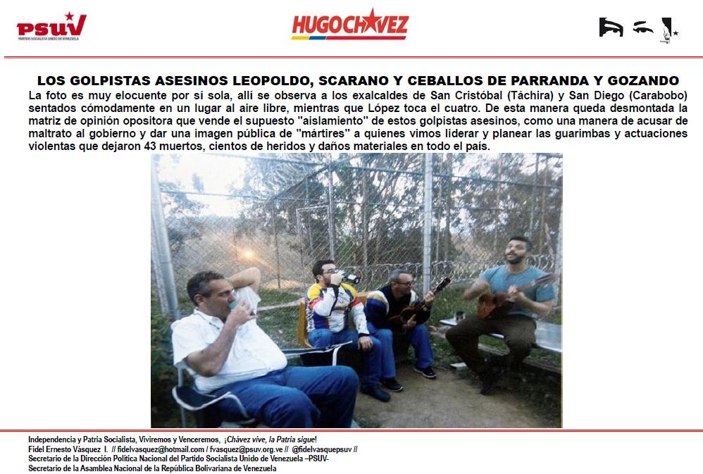 LOS GOLPISTAS ASESINOS LEOPOLDO, SCARANO Y CEBALLOS DE PARRANDA Y GOZANDO