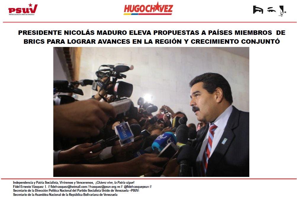 PRESIDENTE NICOLÁS MADURO ELEVA PROPUESTAS A PAÍSES MIEMBROS  DE BRICS PARA LOGRAR AVANCES EN LA REGIÓN Y CRECIMIENTO CONJUNTÓ