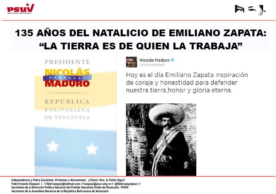 """135 AÑOS DEL NATALICIO DE EMILIANO ZAPATA """"LA TIERRA ES DE QUIEN LA TRABAJA"""""""