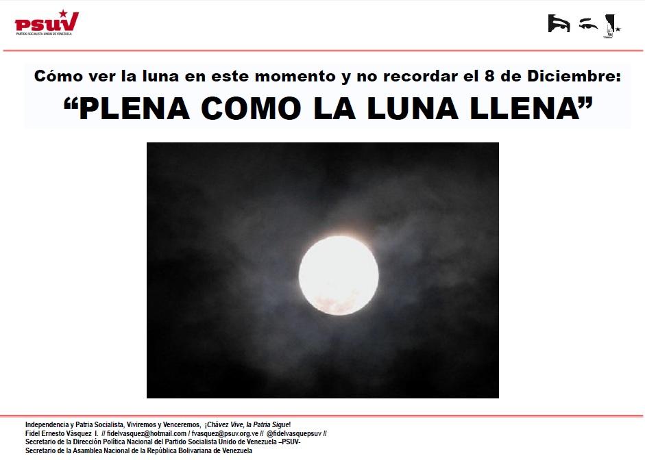 """Cómo ver la luna en este momento y no recordar el 8 de Diciembre """"PLENA COMO LA LUNA LLENA"""""""