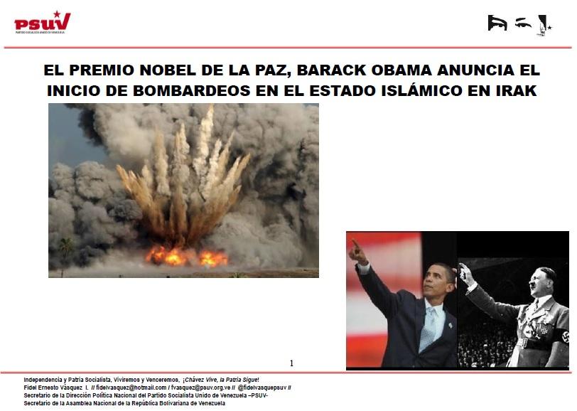 EL PREMIO NOBEL DE LA PAZ, BARACK OBAMA ANUNCIA EL INICIO DE BOMBARDEOS EN EL ESTADO ISLÁMICO EN IRAK