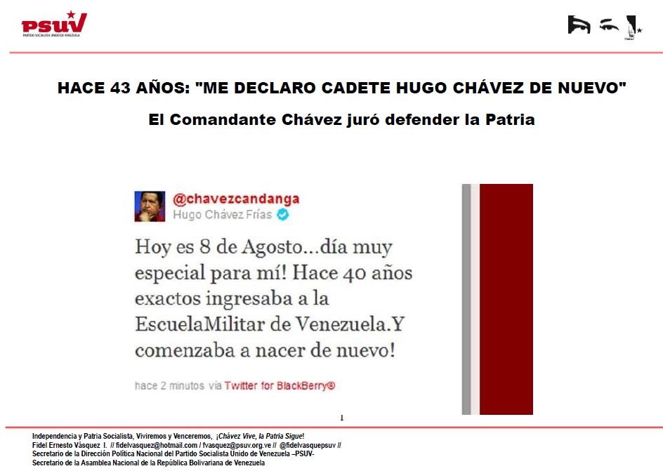 HACE 43 AÑOS ME DECLARO CADETE HUGO CHÁVEZ DE NUEVO