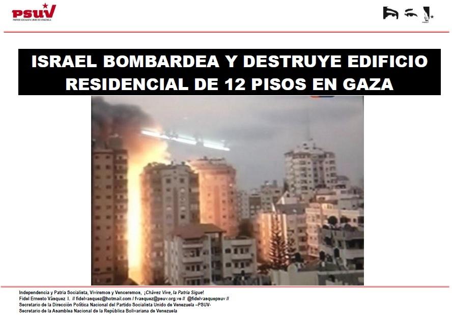 ISRAEL BOMBARDEA Y DESTRUYE EDIFICIO RESIDENCIAL DE 12 PISOS EN GAZA