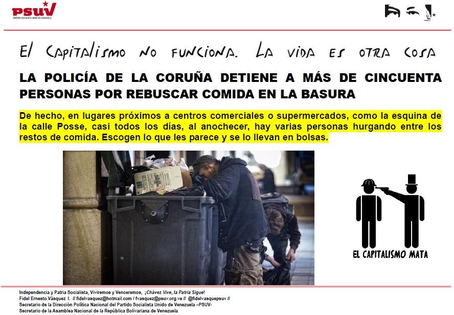 LA POLICÍA DE LA CORUÑA DETIENE A MÁS DE CINCUENTA PERSONAS POR REBUSCAR COMIDA EN LA BASURA