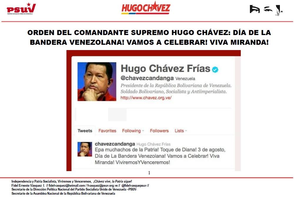 ORDEN DEL COMANDANTE SUPREMO HUGO CHÁVEZ.- DÍA DE LA BANDERA VENEZOLANA! VAMOS A CELEBRAR! VIVA MIRANDA!