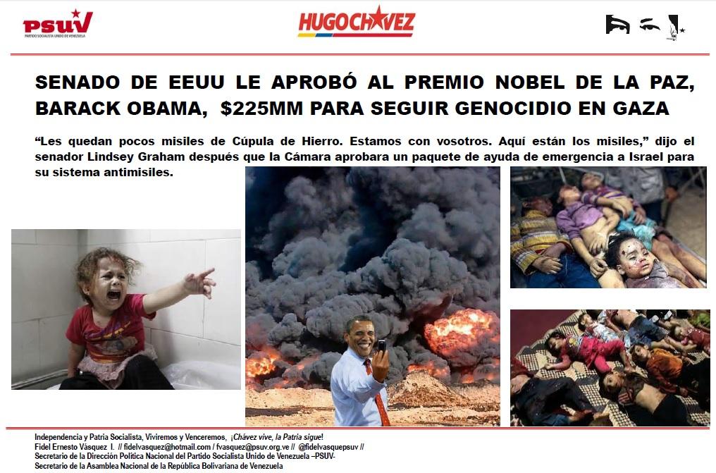 SENADO DE EEUU LE APROBÓ AL PREMIO NOBEL DE LA PAZ, BARACK OBAMA,  $225MM PARA SEGUIR GENOCIDIO EN GAZA