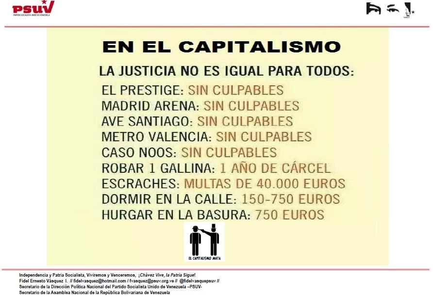 EN EL CAPITALISMO LA JUSTICIA NO ES IGUAL PARA TODOS