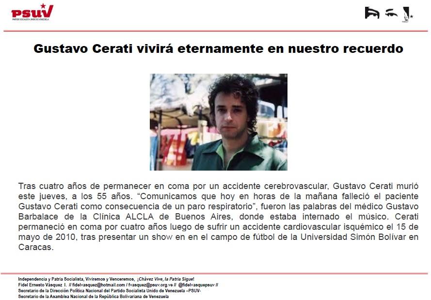 Gustavo Cerati vivirá eternamente en nuestro recuerdo