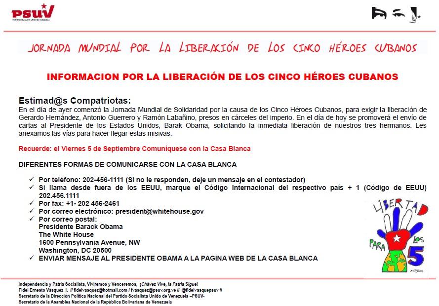 JORNADA MUNDIAL POR LA LIBERACIÓN DE LOS CINCO HÉROES CUBANOS